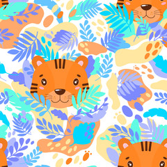 Vector abstract cute pattern jungle tiger. For print on a T-shirt, a picture in the nursery.