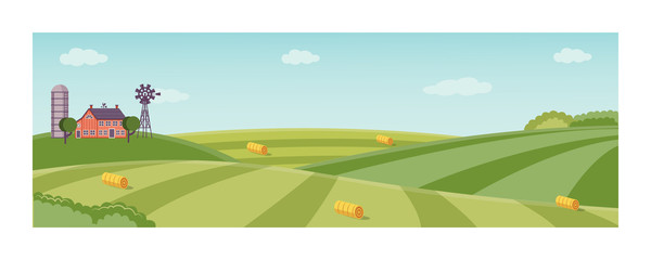 Rural landscape with farm field with green grass, trees. Farmland with house, windmill and hay stacks . Outdoor village scenery, farming background. Vector illustration Fototapete