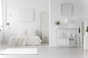 Minimal white bedroom interior