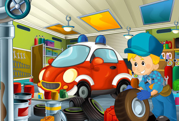 cartoon scene with garage mechanic working repearing some vehicle - fireman car - or cleaning work place - illustration for children