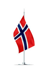 Small Flag of Norway on a Metal Pole
