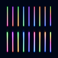 Neon lights tubes set. Colorful glowing lines collection isolated on dark blue background. Halogen or led gradient lamps elements pack for night party or game design. Color bright vector illustration.