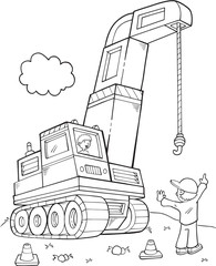 Tuinposter Cartoon draw Giant Construction Crane Vector Illustration Art