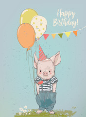 birthday cartoon little pig