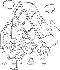 Cute Construction Dump Truck Vector Illustration Art