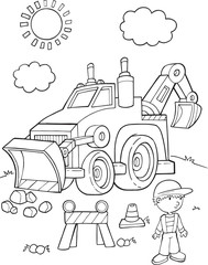 Tuinposter Cartoon draw Cute Construction Digger vehicle Vector Illustration Art