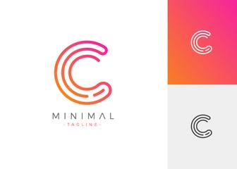 Minimal Line Letter Initial C Logo Design Template. Vector Logo Illustration
