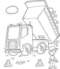 Door stickers Cartoon draw Cute Dump Truck Construction Vector Illustration Art
