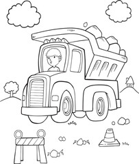 Door stickers Cartoon draw Cute Dump Truck Construction Vector Illustration Art