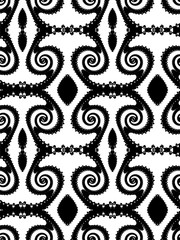 Seamless fractal pattern with a spirals in a black - white colors