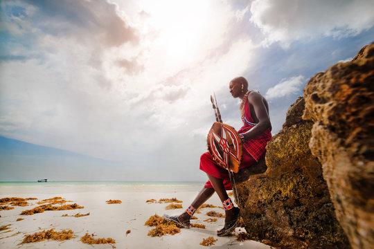 Portrait of a Masai warrior,DianiBeach, Ukunda, Kenya