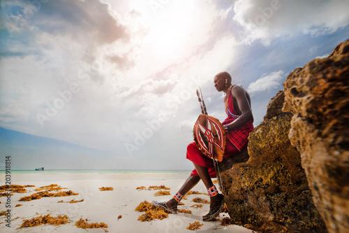 Wall mural portrait of a Maasai warrior in Africa. Tribe, Diani beach, culture