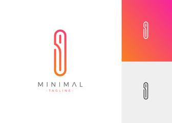 Minimal Line Letter Initial I Logo Design Template. Vector Logo Illustration
