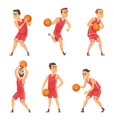 Illustrations set of basketball players