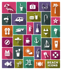 Beach icons. Vector illustration