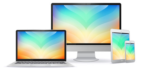 Computer Monitor, Laptop, Tablet PC and Mobile Phone Screen With Colorful Abstract Background