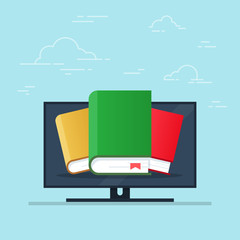 Flat cartoon pc with books, concept of ebook library, digital online study, icon isolated image. Vector illustration.