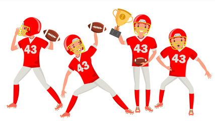 American Football Man Player Male Vector. Professional Championship. Strong Man. Cartoon Athlete Character Illustration