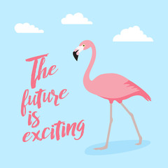 pink flamingo icon over white background