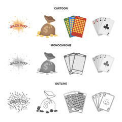Jack sweat, a bag with money won, cards for playing Bingo, playing cards. Casino and gambling set collection icons in cartoon,outline,monochrome style vector symbol stock illustration web.