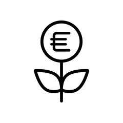 Money flower with dollar. Money tree. Linear icon with thin outline