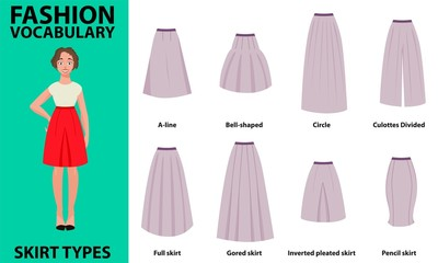 Skirt vocabulary collections of standard classic simple skirts. Many types of skirts sutable on vector nice vector model. Simple style.