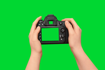 Female hands holding dslr camera with empty screen, isolated on green background