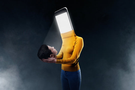 Female body with a smartphone instead of a head