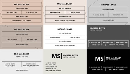 Minimalistic business card template set vector