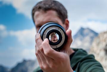 Fotografía del diafragma de un objetivo en Sierra Nevada, Granada