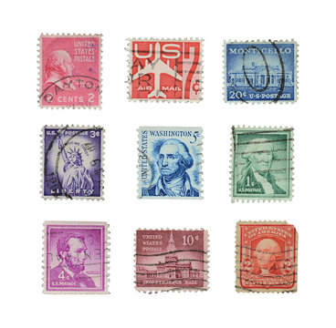 Stamps mail close up