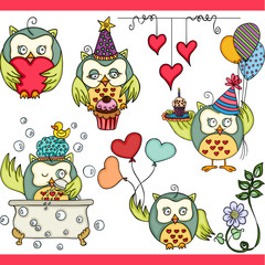 Happy owl girl set digital elements
