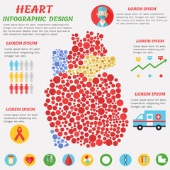 Heart infographic poster with symbols, text and graphic