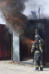 Fireman fire training station drill