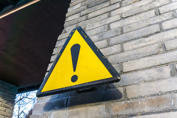 danger sign on the wall