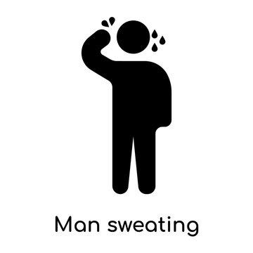 Man sweating icon isolated on white background