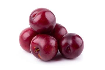 Fototapeten Kirschblüte Red cherry plum isolated on white background