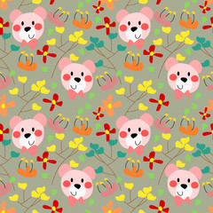 Funny bear face in the floral seamless pattern vector.