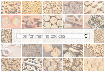 Visualization of the search bar on the background of a collage of many pictures with various sweets close up. Tips for making cookies