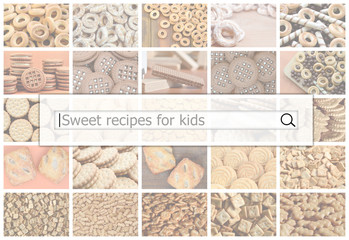 Visualization of the search bar on the background of a collage of many pictures with various sweets close up. Sweet recipes for kids