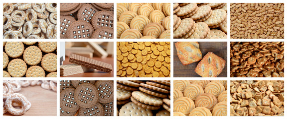 A collage of many pictures with various sweets close-up. A set of images with varieties of biscuits, bagels and candies