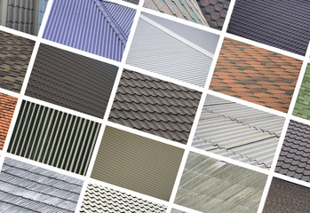 A collage of many pictures with fragments of various types of roofing close up. A set of images with roof coating textures
