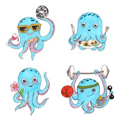 Hand drawn colorful illustration. Watercolor artwork set. Octopus in sunglasses dance with disco ball, pizza and wine. Holds pasta, flower, basketball, tennis racket, barbell. Pictures for children.