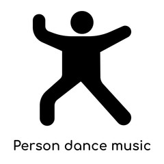 Person dance music icon isolated on white background