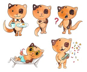 Hand drawn colorful illustration. Watercolor artwork set. Kitty holds breakfast, angry, scream, lying in sunglasses on deck chair with cocktail, launches confetti from crackers. Pictures for children.
