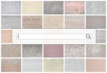 Visualization of the search bar on the background of a collage of many pictures with fragments of brick walls of different colors close-up. Set of images with varieties of brickwork