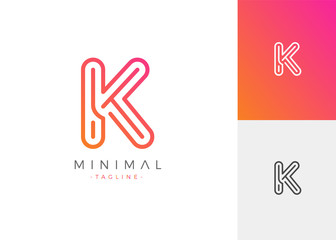 Minimal Line Letter Initial K Logo Design Template. Vector Logo Illustration