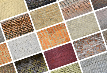 A collage of many pictures with fragments of brick walls of different colors close-up. Set of...