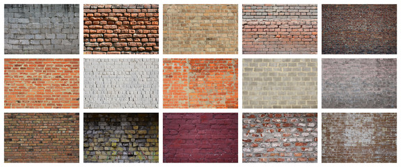 A collage of many pictures with fragments of brick walls of different colors close-up. Set of images with varieties of brickwork