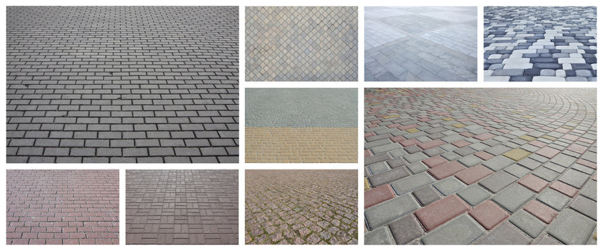 A collage of many pictures with fragments of paving tiles close-up. Set of images with pavement stone
